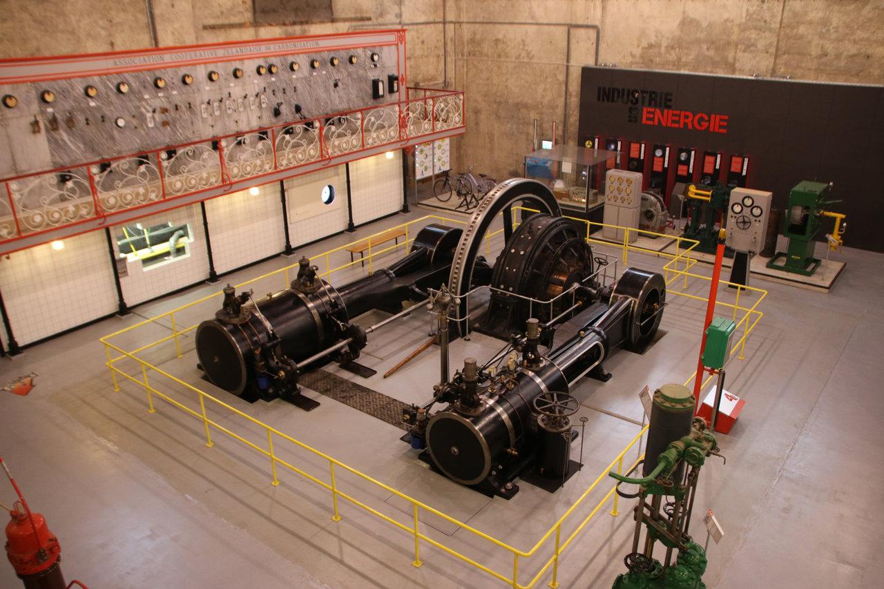 De stoommachine van bovenaf