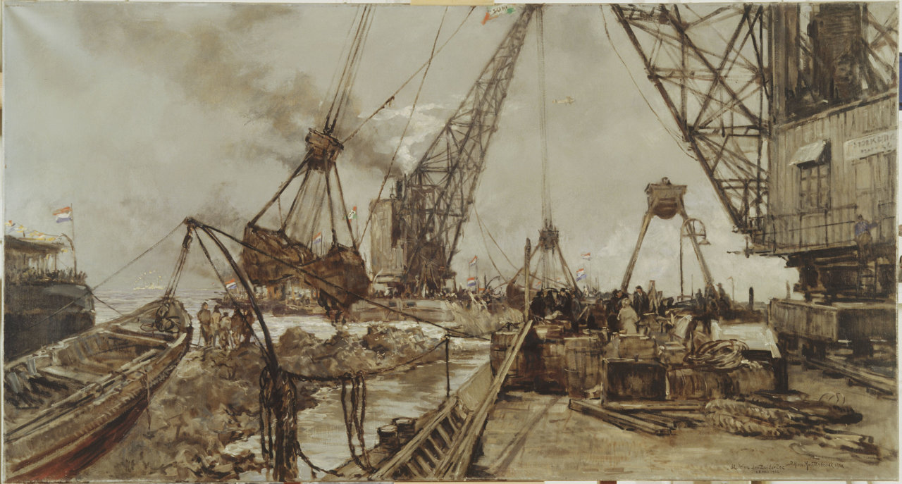 afsluiting van de zuiderzee op een schilderij schepen met grijpers dichten het sluitgat De Vlieter