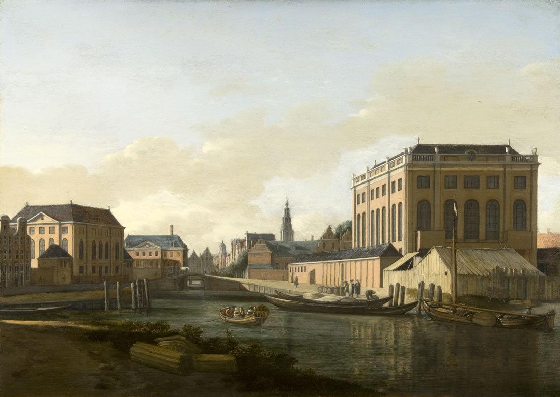 Schilderij van de Muidergracht met rechts de Portugese Synagoge en links de Grote Synagoge te Amsterdam