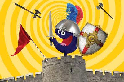 ridder Tikkit de museumkidsmascotte op een kasteeltoren